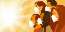 Vector Illustration Of Multinational Group Of People In Medical Mask Look Into The Future With Hope. Coronavirus COVID-19 Pandemia Concept.