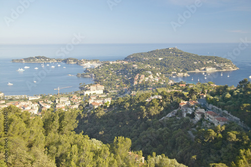 Valokuvatapetti Looking down on hillside homes,French Riviera, France