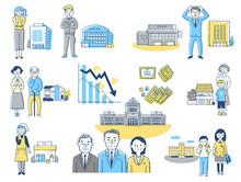 雇用と経済 不景気イメージ セット