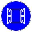canvas print picture - shas612 SignHealthAndSafety shas - german - Gebotszeichen: Fenster öffnen - frische Luft strömt. - english / mandatory sign: fresh air - ventilating intensively with the window sash wide open - g9464