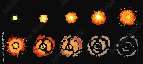 Obraz Explosion process isolated cartoon set icon. Vector illustration effect explode on white background. Vector cartoon set icon explosion process. - fototapety do salonu