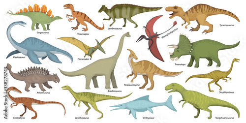 Photo Dinosaur isolated cartoon set icon