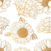 Vector Sunflowers Seamless Pat...