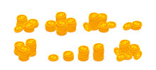 Isometric Gold Coins With Dollar Sign Stack Set. 3d Pile Of Golden Money Cash Symbol Collection Isolated On White. Banking, Business, Financial Concept For Web, Apps, Infographics. Vector Illustration