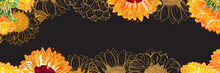 Vector Panorama With Watercolor Sunflowers On A Black Background And A Place For Text