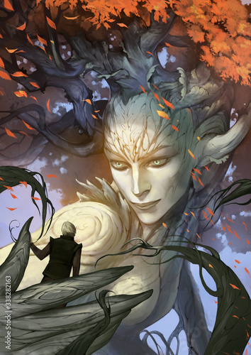 Original digital painting of a beautiful fantasy character dryad holding young a Canvas Print