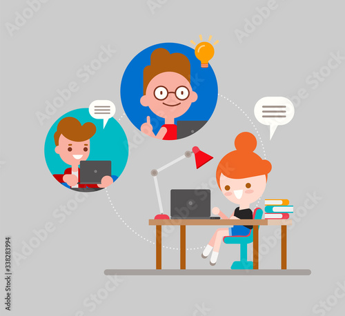 Online education concept illustration. Student studying at home via internet. Kids with laptop chatting with their friends. Online webinar meeting. vector cartoon in flat design style.