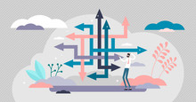 Choice Confusion Vector Illustration. Business Path Flat Tiny Person Concept