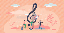 Treble Clef Vector Illustration. Music Key In Flat Tiny Persons Concept.