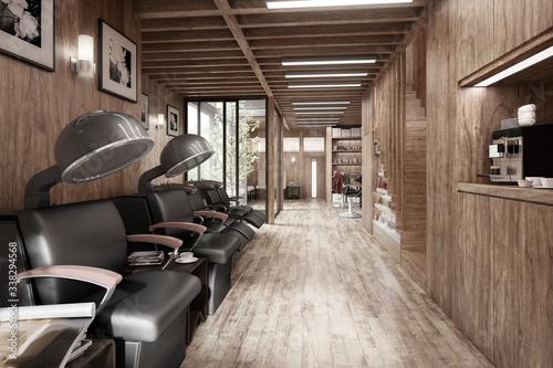 Modern Hair Salon (desaturated) - 3d visualization