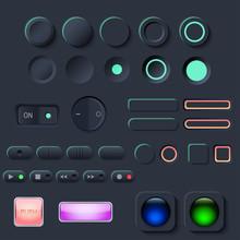 Neumorphic UI Button Set. Dark...