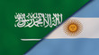 The flags of Saudi Arabia and Argentina. News, reportage, business background. 3d illustration
