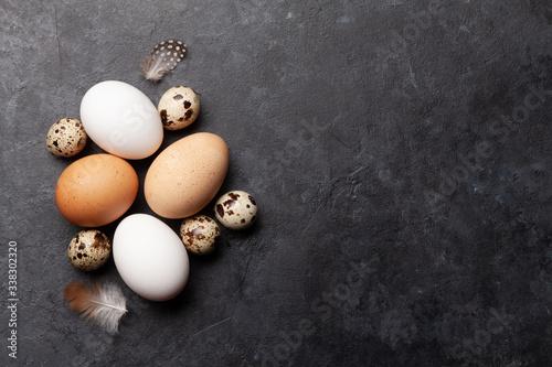 Cuadros en Lienzo White, brown and quail eggs