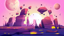 Space Game Background With Landscape Of Alien Planet With Rocks, Cracks And Glowing Spots. Vector Cartoon Fantasy Illustration Of Cosmos And Planet Surface For Gui Game Design