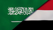 The flags of Saudi Arabia and Yemen. News, reportage, business background. 3d illustration