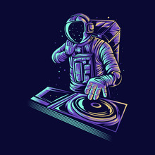 Astronaut Dj Vector Illustration