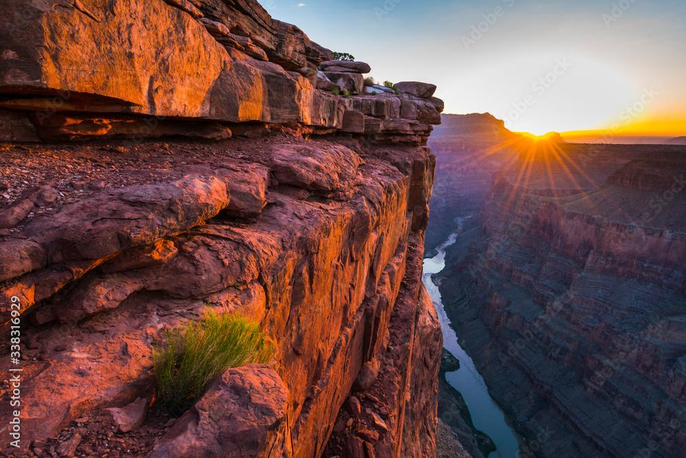 Fototapeta scenic view of Toroweap overlook at sunrise  in north rim, grand canyon national park,Arizona,usa.