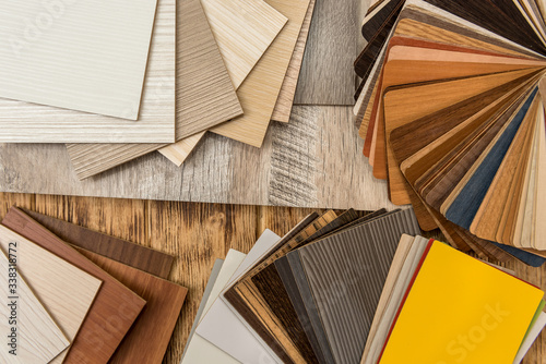 Fototapeta Sampler furniture material dor design or decoration interior. Wood color catalog as texture or pattern. Floor plank for industry. obraz na płótnie
