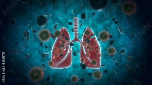 Obraz na plátně 3d visualization scientific background how COVID 19 Coronavirus affect lung