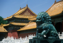 The Forbidden City - Bronze Lion In Front Of Tai He Men Gate (gate Of Supreme Harmony) In Beijing In Hebei Province, People's Republic Of China