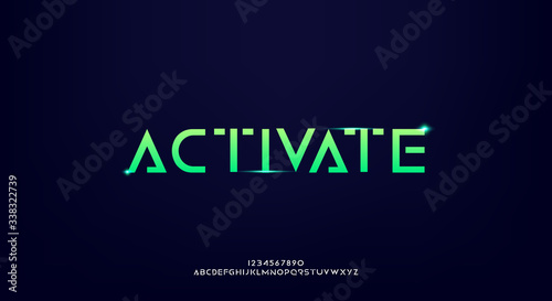Activate, an abstract technology science fiction alphabet font Wallpaper Mural