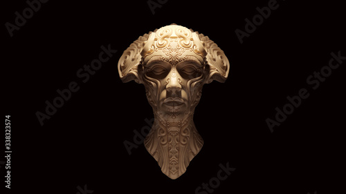 Carta da parati Demonic Queen White Cream Bone Color Bust 3d illustration 3d render
