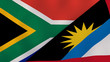 canvas print picture - The flags of South Africa and Antigua and Barbuda. News, reportage, business background. 3d illustration