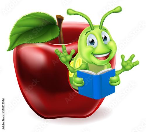 Photo A cute caterpillar bookworm worm cute cartoon character education mascot coming