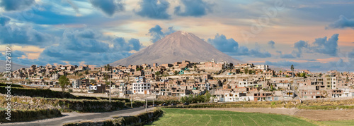 Arequipa, Peru - August 2017: El Misti volcano above Arequipa on a sunny day, Pe Wallpaper Mural