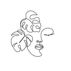 Crtanje crta profila žene s tekućom kosom i cvijećem za organsku kozmetiku