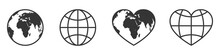 Globe Icons Set. World Map Vec...