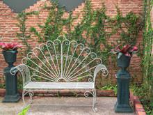 Vintage White Wrought Iron Patio Bench.