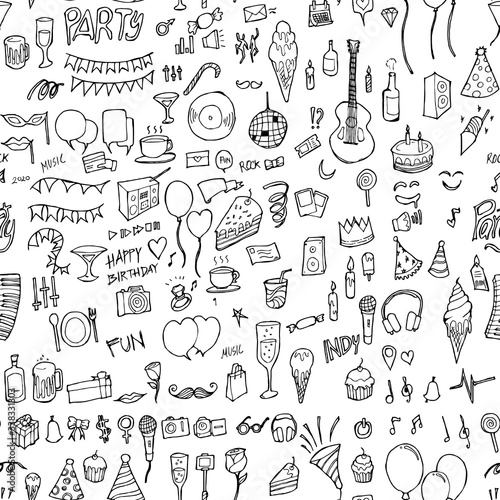 Obraz Party doodle background seamless pattern. Drawing vector illustration hand drawn eps10 - fototapety do salonu