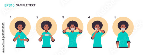 how to wear medical face mask covid-19 protection african american woman present Tableau sur Toile