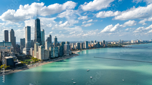 Fototapeta Chicago skyline aerial drone view from above, city of Chicago downtown skyscrapers and lake Michigan cityscape, Illinois, USA  obraz