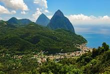 Beautiful Above View Of Tropical Beach, Sea And Mountain Landscape, Santa Lucia Island, Caribbean