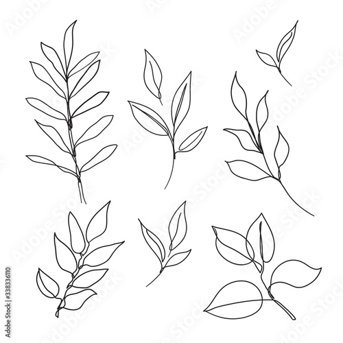Stampa su Tela Set of leaves continuous line drawing art