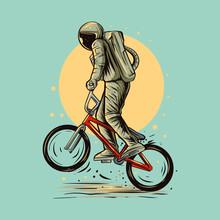 Astronaut Wheelie Bmx Bike Vector Illustration Design