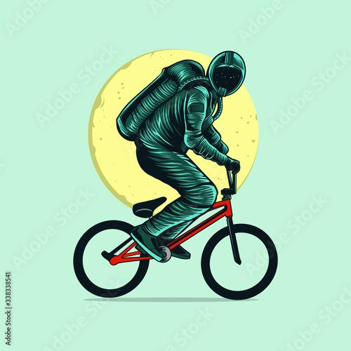 Photo astronaut riding bmx with moon vector illustration design