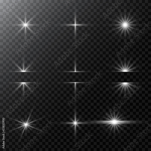 Obraz Set of Vector glowing light effect stars bursts with sparkles and flare, explosion on transparent background. Stock - Vector illustration. - fototapety do salonu