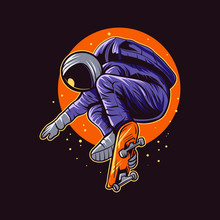 Astronaut Skateboarding Jump On Space Vector Illustration Design