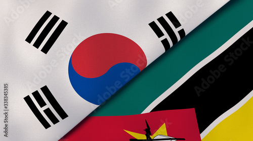 Photo The flags of South Korea and Mozambique