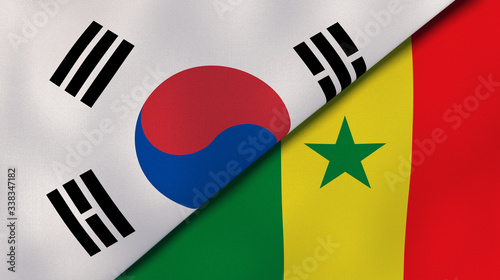 The flags of South Korea and Senegal Canvas Print