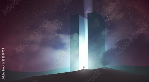 Foto light coming out of magical gate in dark surreal landscape, 3d illustration