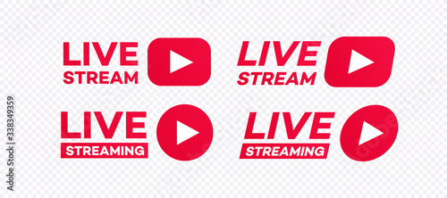 Live streaming icon set modern style isolated on transparent background Fototapet