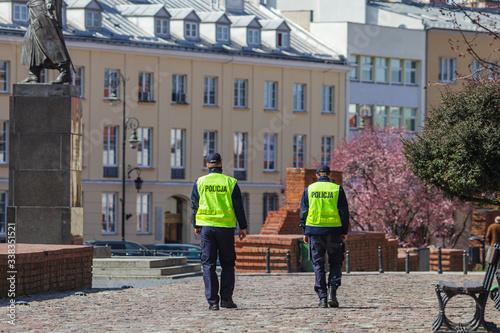 Fototapeta Polish police patrol on the street obraz