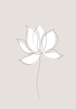Lotus Flower Flat Icon. One Line Drawing Art. Abstract Minimal Sketch. Vector Illustration