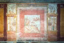 Ancient Fresco In The Macellum Of Pompeii, Italy