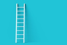 Single White Ladder Leaning Against Pastel Blue Wall Minimal Career, Opportunity Or Goal Concept