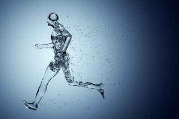 Human body shape of a running man filled with blue water on blue gradient background - sport or fitness hydration, healthy lifestyle or wellness concept